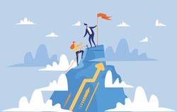 Young Man in Blue Suit and Tie, Making Reach for His Partner, Persistent Woman, to Help Her to Get on Mountain Top. Success in Business is Compared with Climbing High Hills. Teamwork and Support.