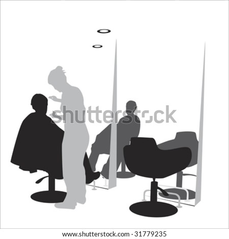 young man in hair styling  salon