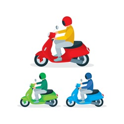 Young man in helmet riding a scooter. Top and side view of male character riding a motorbike. Isometric vector illustrations set. Part of collection.