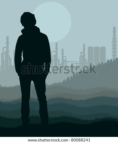 Young man in oil refinery station landscape illustration