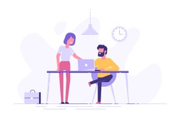 Young man is sitting at a desk with computer and his colleague is pointing to a screen and giving advice. Office business concept. Modern vector illustration.