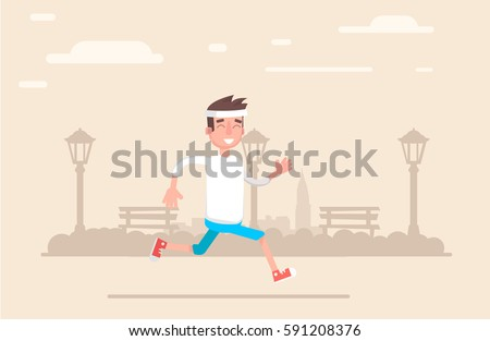 young man jogging in the park