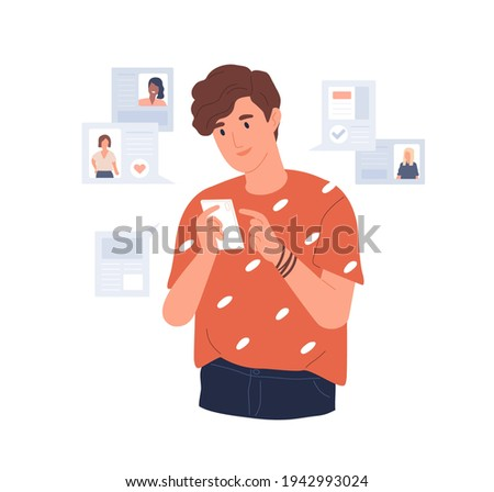 Young man looking for girlfriend through mobile phone dating app. Guy with smartphone chatting, flirting and liking online. Colored flat vector illustration isolated on white background