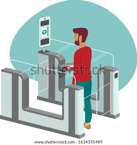 Young man passing through automated passport border control gates flat vector illustration Photo stock ©