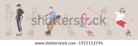 young man people surf skate and skateboard pose organic style flat design lineal vector set illustration. Foto stock ©