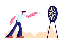 Young Man Playing Darts Outdoors. Character Throw Dart into Target Board. Recreation, Sports Activity, Creative Spare Time, Sport Competition. Entertainment in Park. Cartoon Flat Vector Illustration