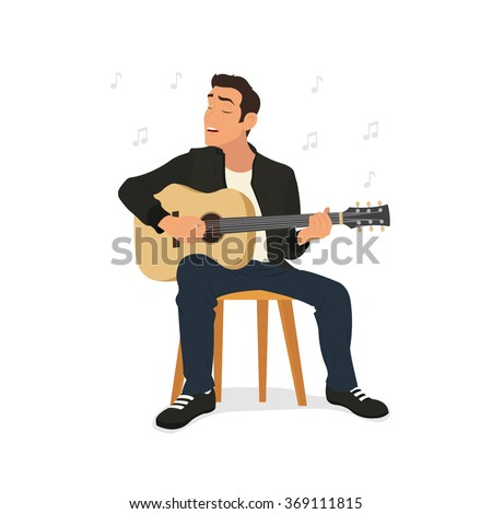 young man playing guitar and