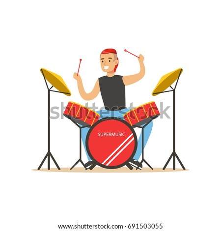 young man playing on drums  guy