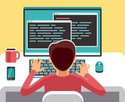 Young man programmer working on computer with code on screen. Student programming vector concept. Man work with computer, programmer professional and character of freelancer on workplace illustration