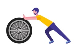 young man pushing tire car isolated icon