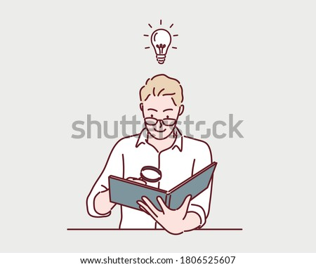 Young man reading a interesting book with magnifying glass. Hand drawn style vector design illustrations.