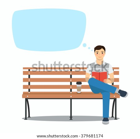 young man reading book on the