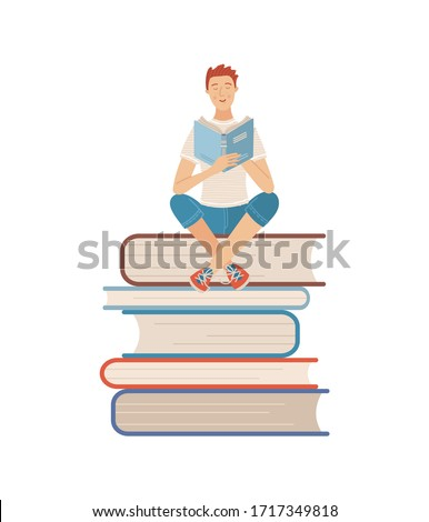 Young man reading book while sitting on stack of books. Boy relaxing with book isolated on white background. Literature hobby and happy lifestyle. Student studying with textbook vector illustration Stockfoto ©