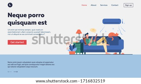 Young man relaxing at couch under air conditioner flat vector illustration. Cartoon guy in cold room chatting via smartphone. Digital technology and summer home concept