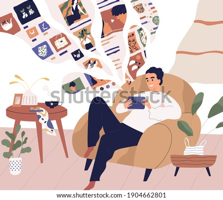 Young man relaxing at home and using tablet PC. Guy surfing internet with smartphone, chatting and shopping online while sitting in armchair in cozy room. Colored flat vector illustration