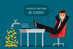 young man rests and rejoices passive income. From the tap fall gold dollars. The concept of investing and cryptographic. Rising prices for bitcoins. flat vector illustration