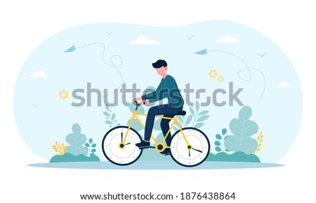 young man rides time bike with