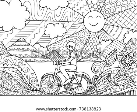 Image result for coloring book scene bicycle zentangle