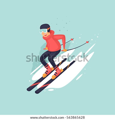 young man riding on skis on