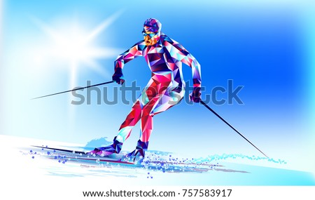 Young man riding on skis on white background, winter, Olympic. Vector illustration in triangular style. Vector illustration in a geometric triangle of XXIII style Winter Olympics games   Stock photo ©
