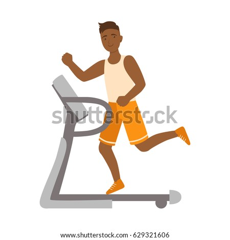 Young man running on thread mill. Colorful cartoon character stock photo