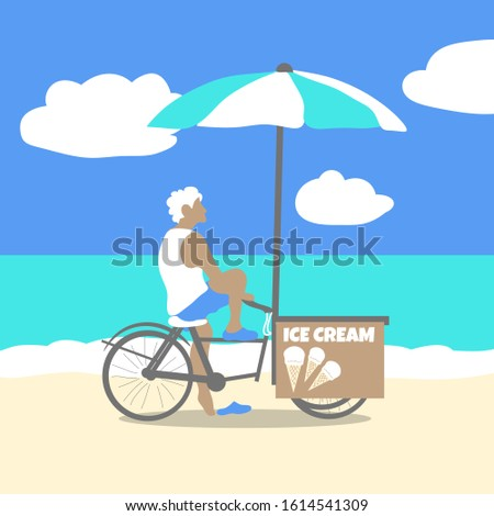 Young man sells ice cream on a Bicycle on the beach