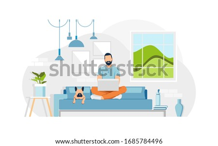 Young man sits on a sofa and work from home with a laptop. A dog lies on a couch. Concept living room with sofa, plants, man, lamps. Person indoor job remote work. Flat vector illustration.