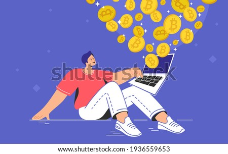 Young man sitting alone and buying or selling bitcoins on laptop. Flat modern concept vector illustration of people who buying and selling cryptocurrency and mining crypto coins on growing market