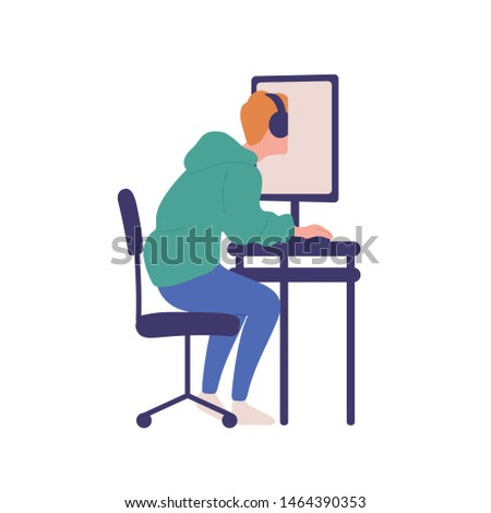 Young man sitting at computer isolated on white background. Boy with online gaming obsession, internet addiction. Behavioral problem, psychiatric condition. Flat cartoon colorful vector illustration.