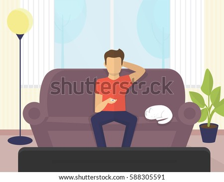 young man sitting at home on