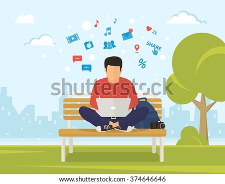 stock-vector-young-man-sitting-in-the-park-on-the-bench-and-working-with-laptop-flat-modern-illustration-of