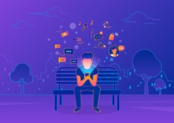 Young man sitting in the street and texting messages using smartphone. Gradient line vector illustration of social networking, reading news, sending email and texting friends. Internet addicted teens