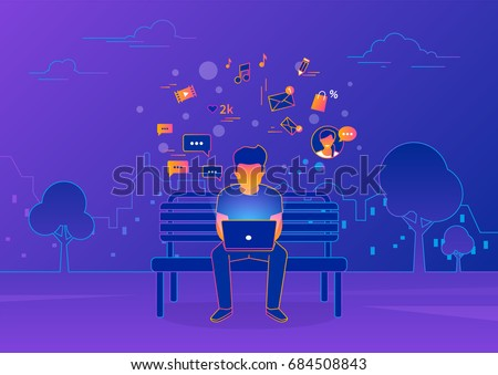 stock-vector-young-man-sitting-in-the-street-and-working-with-laptop-on-violet-background-gradient-line-vector