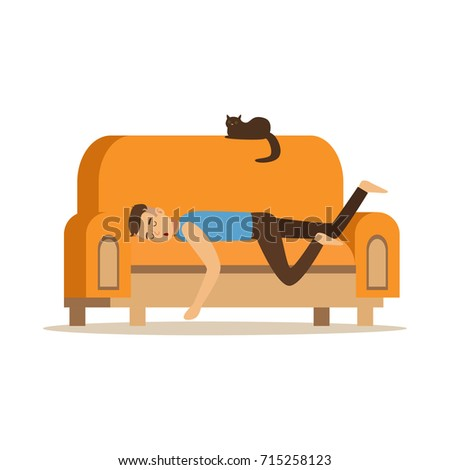 young man sleeping on orange