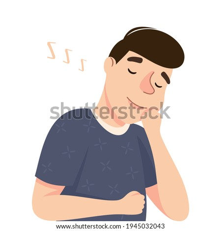 Young Man Slumbering or Drowsing with Hand Reclined Upon His Head Vector Illustration Stock photo ©