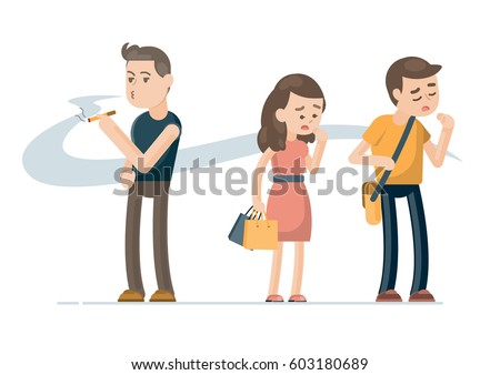 Young man smoking cigarette and people covering face from cigarette smoke, Passive smoking concept. Vector character illustration.