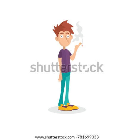 young man standing and smoking