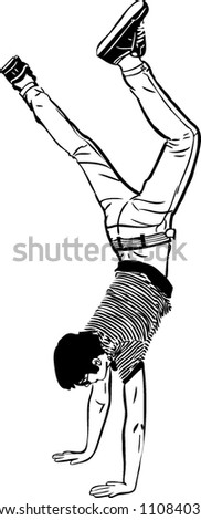 young man standing on ead over heels