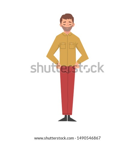 young man standing with hands