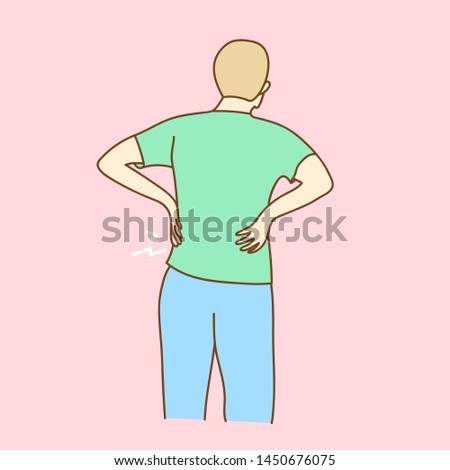 Young man suffering from backache, vector illustration.