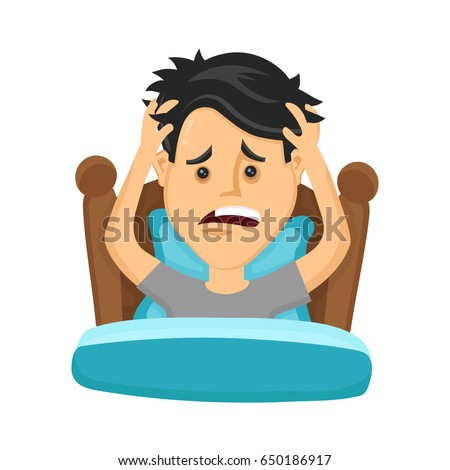 Young man suffers from lack of sleep. Vector flat modern style illustration character icon design. Isolated on white background.  Healthy care, bad sleep, body balance, insomnia,lack,sleepless concept