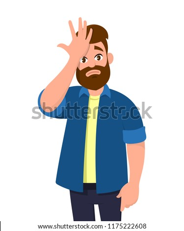 Young man surprised with hand on head for mistake, remember error. Forgot, bad memory. Human emotion, facial expression feelings and body language concept in cartoon style vector illustration.