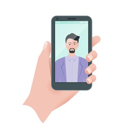 Young man takes selfie using a smartphone. Close up man hand holding mobile phone. Flat illustration