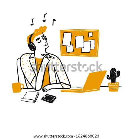 Young man thinking and listen his favourite song with headphone at him office. Hand drawn doodle style vector design illustrations.