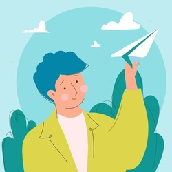 Young man throwing a paper airplane toward the sky. Man launches a paper airplane in nature. Boy throwing paper plane. The idea of inspiration. Flat vector illustration
