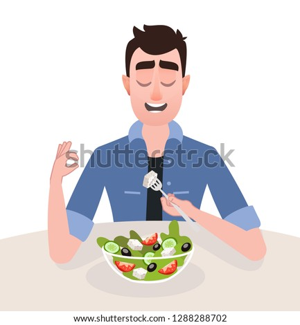 Young man vegetarian is eating a greek salad. The concept isokated illustration of healthy lifestyle and proper nutrition. Cartoon character in jeans clothes flat style - Vector