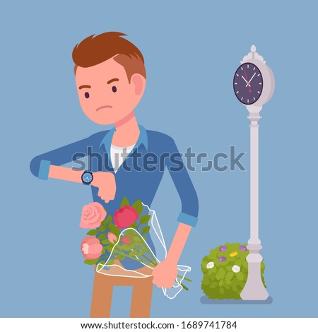 Young man waiting at the romantic date, checking time. Smart boyfriend with flower bouquet, unhappy lonely cheated male partner, anxiety on getting late friend. Vector flat style cartoon illustration