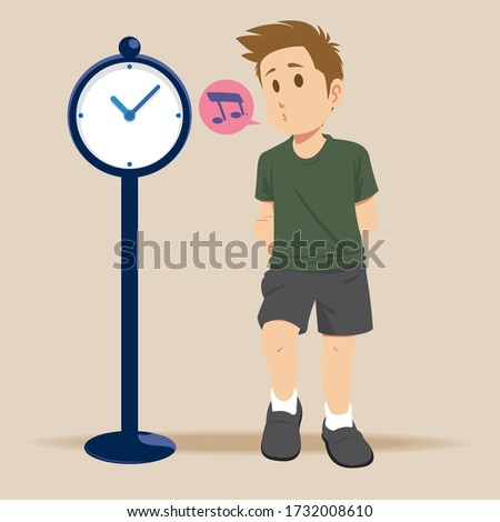Young man waiting for someone checking time. Unhappy lonely man, waiting for getting late friend. Vector illustration