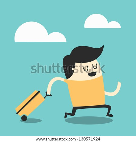 Young man walking with travel bag. - stock vector