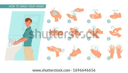 Young man washing hands. Infographic steps how washing hands properly. prevention against virus and infection. Hygiene concept.  Vector illustration in a flat style